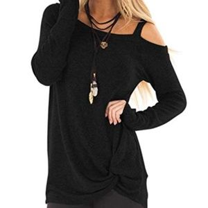 Cold Off Shoulder Twist Tunic in Black